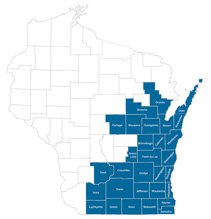 map of wisconsin with counties marked